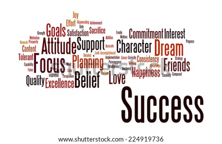 Word cloud illustrating the concept of success in both business and life and also words associated with it like excellence,joy,contentment,focus,support ,intelligence,strength,consistency, sacrifice - stock photo