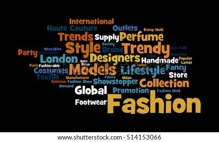 Word cloud illustrating the prime concept of Fashion and the relevant words associated with it