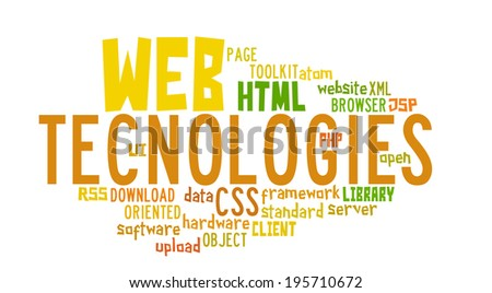 Word Cloud Illustration of Web Technology on white