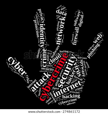 Word cloud illustration which deals with cybercrime. - stock photo