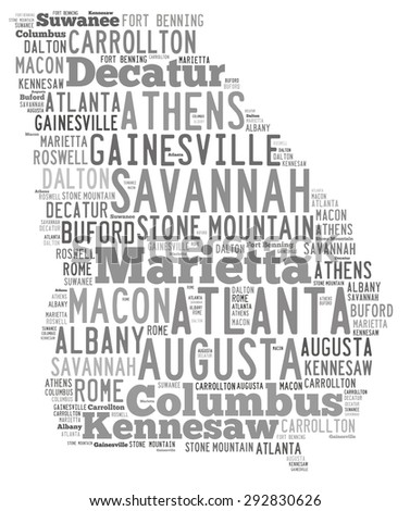 Word Cloud in the shape of Georgia showing some of the cities in the state - stock photo