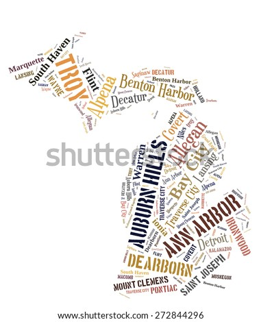 Word Cloud in the shape of Michigan showing some of the cities in the state - stock photo