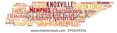 Word Cloud in the shape of Tennessee showing some of the cities in the state - stock photo
