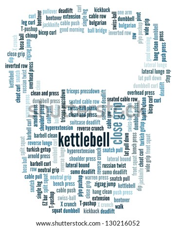 Word cloud in the shape of the kettlebell illustrating terms related to sports and recreation and gym exercises