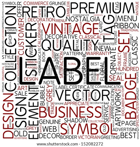Word cloud - label - stock photo