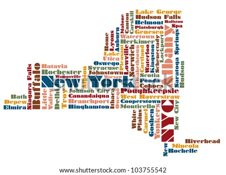 word cloud map of New York State state, usa - stock photo