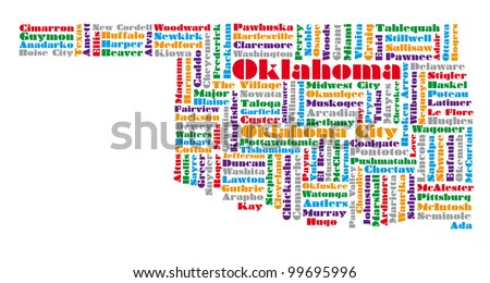 word cloud map of Oklahoma state