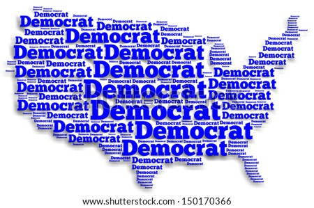 "Word cloud map of the United States of America with the word ""Democrat"" filling up all of the space"