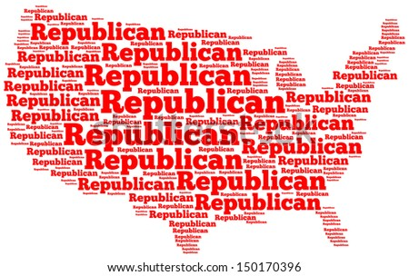 "Word cloud map of the United States of America with the word ""Republican"" filling up all of the space"