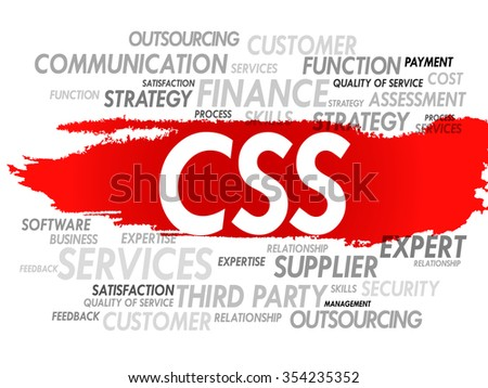 Word cloud of CSS related items, presentation background - stock photo