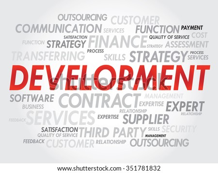 Word cloud of DEVELOPMENT related items, presentation background - stock photo