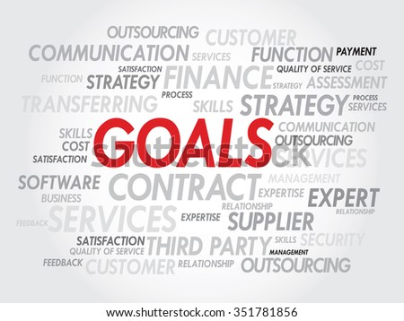 Word cloud of GOALS related items, presentation background - stock photo