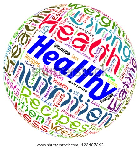 Word Cloud of Healthy Word - stock photo