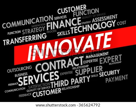 Word cloud of INNOVATE related items, presentation background - stock photo