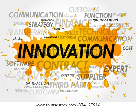 Word cloud of INNOVATION related items - stock photo