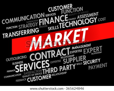 Word cloud of MARKET related items, presentation background - stock photo