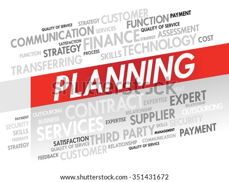 Word cloud of PLANNING related items, presentation background - stock photo