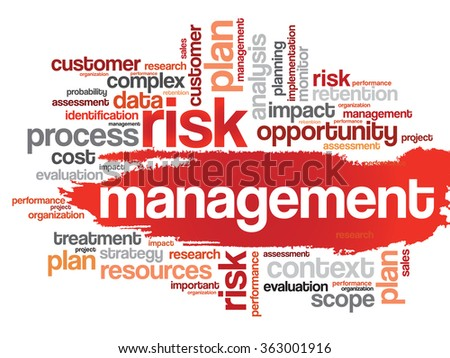 Word cloud of Risk Management related items, presentation background - stock photo