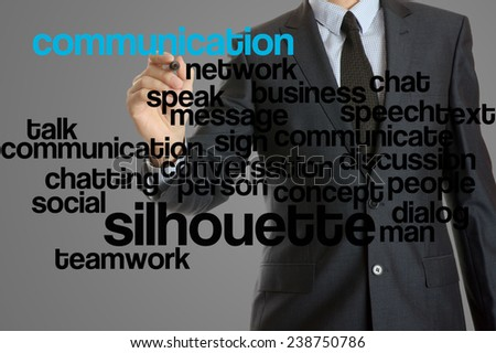 word cloud related to communication written by businessman