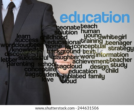word cloud related to education written by businessman
