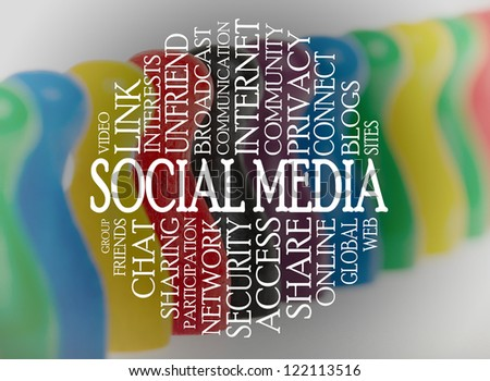Word cloud social media with a social media background - stock photo