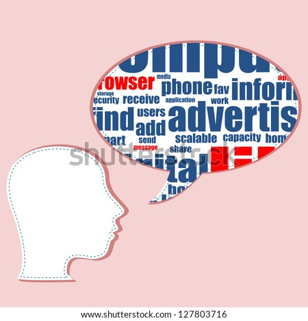 Word cloud, tag cloud text business concept. Head silhouette with the words on the topic of social networking. Word collage, raster - stock photo