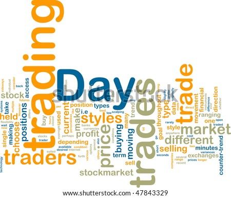 Word cloud tags concept illustration of day trading - stock photo