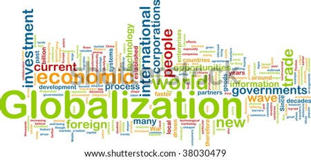 Word cloud tags concept illustration of globalization - stock photo