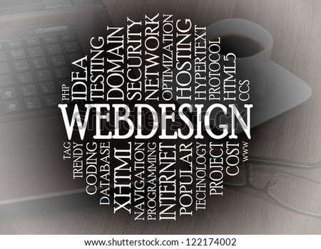 Word cloud webdesign concept with a webdesign background - stock photo