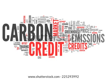 Word Cloud with Carbon Credit related tags - stock photo