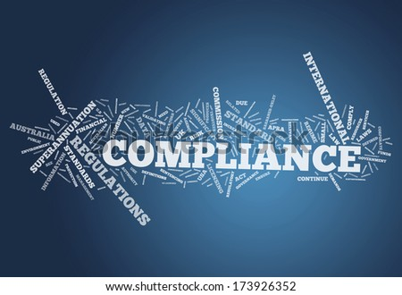 Word Cloud with Compliance related tags - stock photo