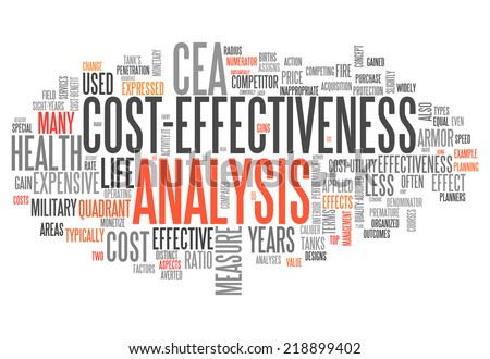 Word Cloud with Cost-Effectiveness Analysis related tags - stock photo