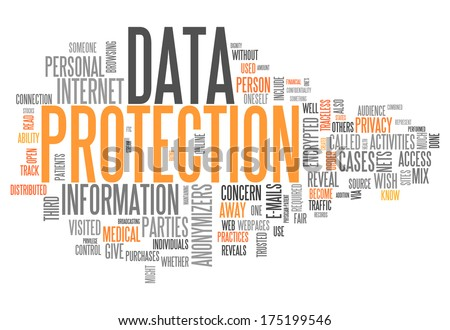 Word Cloud with Data Protection related tags - stock photo