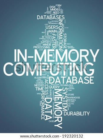 Word Cloud with In-Memory Computing related tags - stock photo