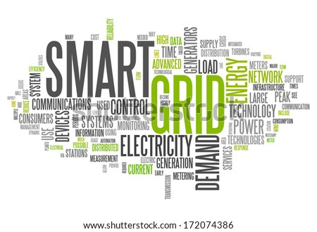 Word Cloud with Smart Grid related tags - stock photo