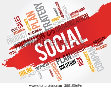 Word Cloud with Social related tags - stock photo