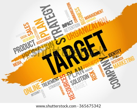 Word Cloud with Target related tags, business concept - stock photo
