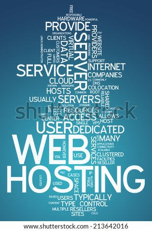Word Cloud with Web Hosting related tags - stock photo