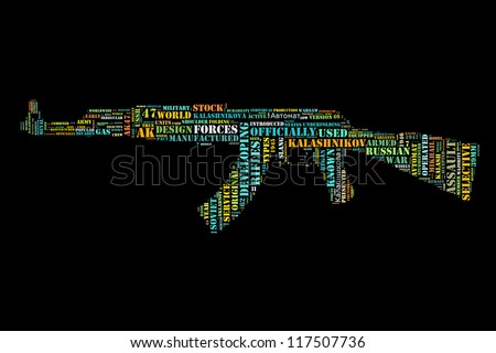 Word collage in shape of AK47 - stock photo