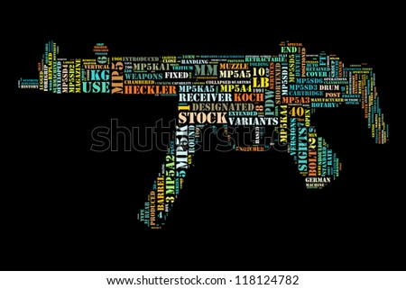 Word collage in shape of subs machine gun - stock photo