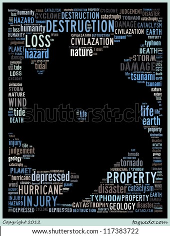 Word collage of natural disaster: hurricane