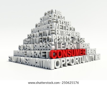 Word CONSUMER in red, salient among other related keywords concept in white pyramid. 3d render illustration - stock photo