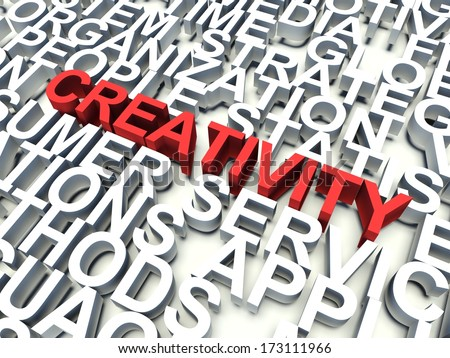 Word Creativity in red, salient among other related keywords concept in white. 3d render illustration.