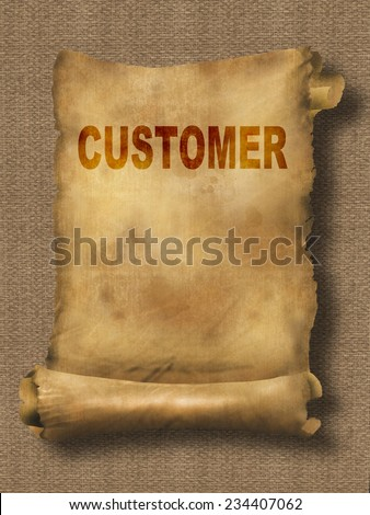 word customer on paper scroll made in 2d software