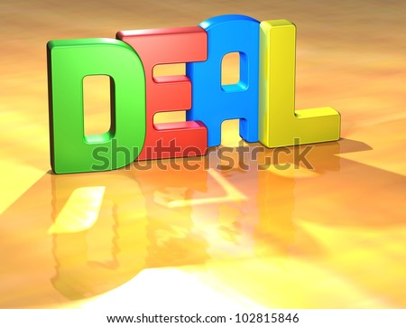 Word Deal on yellow background (high resolution 3D image) - stock photo