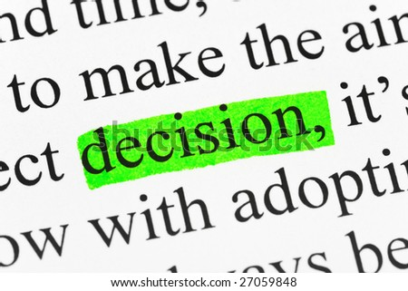 Word decision in text - concept business background - stock photo