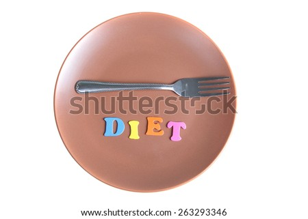 Word diet and fork on a plate isolated on a white background. - stock photo