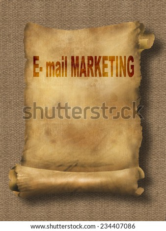 word e-mail marketing on paper scroll made in 2d software