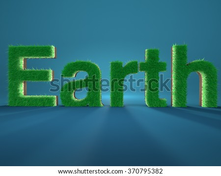Word Earth spelled by letters made of fresh green grass on blue background. Concept of environment. - stock photo