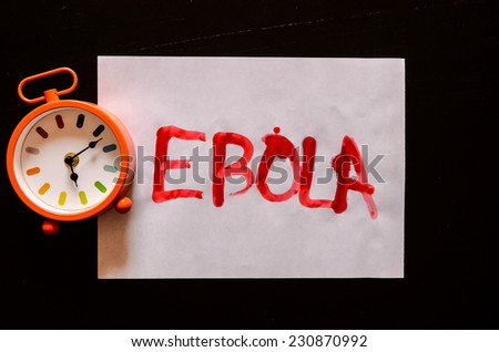Word Ebola Text Writed with Blood on a White Paper - stock photo
